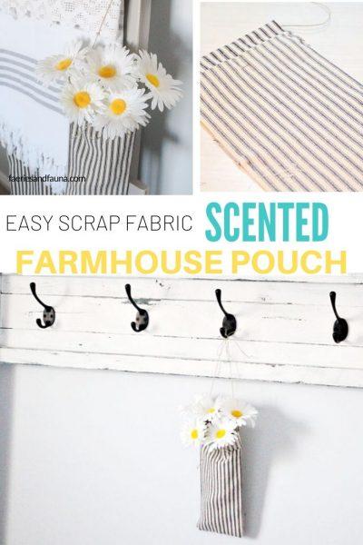 Easy farmhouse decor using ticking fabric, essential oils, and flowers.