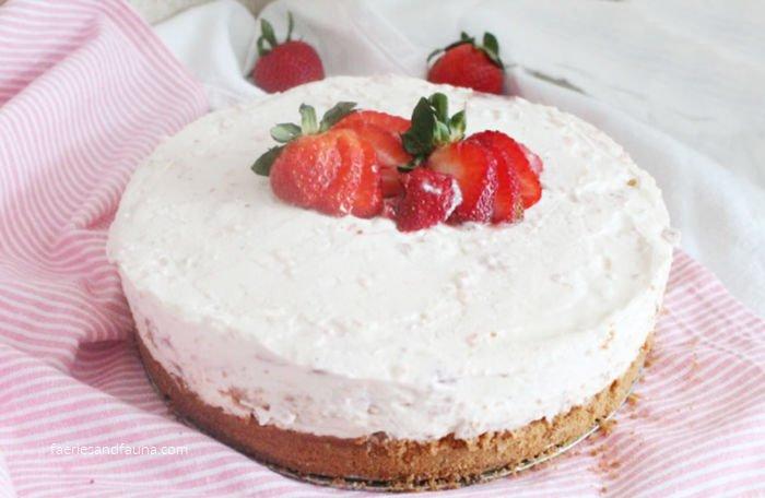 Strawberry Rhubarb Cheesecake being served